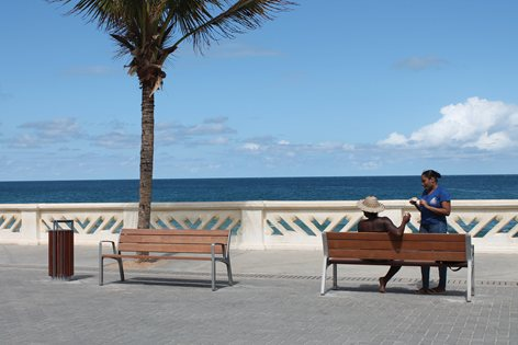 Benches with a view over the ocean in Brazil