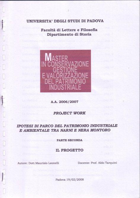 IPOTESI DI PARCO DEL PATRIMONIO INDUSTRIALE E AMBIENTALE TRA NARNI E NERA MONTORO
