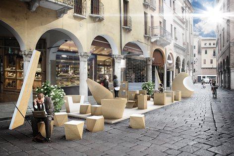 Allestimento in cartone Bar Venezia @ FESTIVALETTERATURA 2014