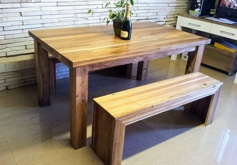 Peachy Chunky 4 Seater Dining Table With 2 Seater N Benches Customarchery Wood Chair Design Ideas Customarcherynet
