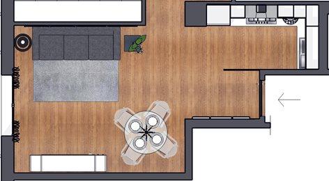 Casa E - progettazione soggiorno con cucina a vista | Carla ...