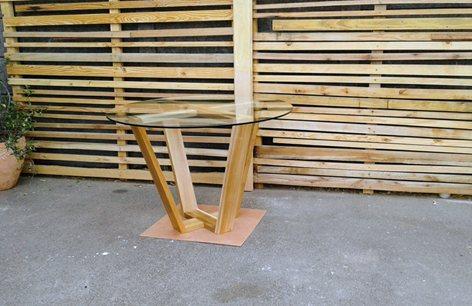 Custom Round Glass Coffee Table With X Base Tameron Haralambous