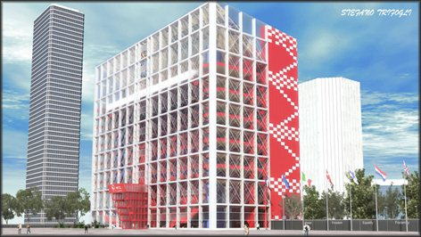 Concept di un edificio a destinazione commerciale-ricettiva