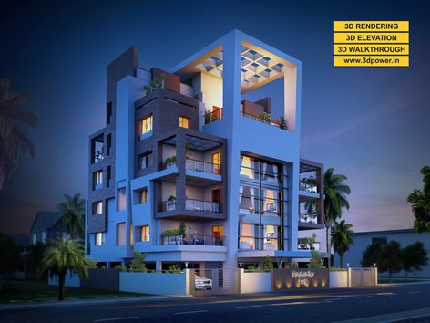 3D Modern Apartment day & night rendering and elevation ...
