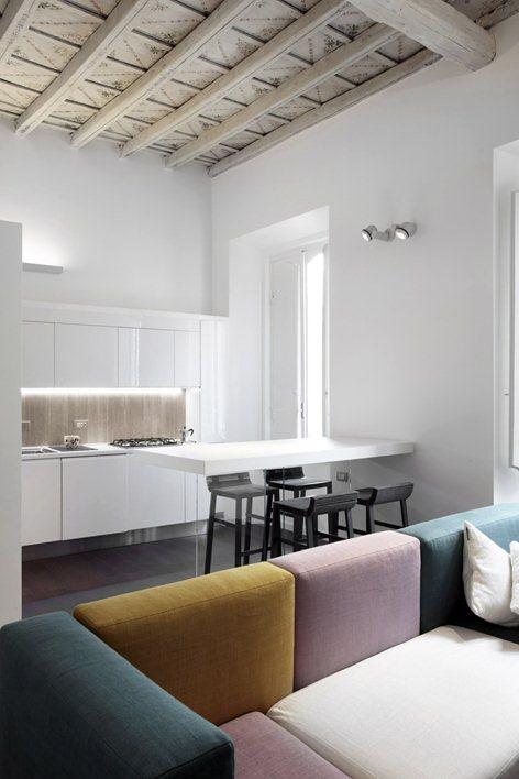 Minimal apartment interior in an historic Baroque Palazzo in Rome
