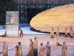 Stage set for ancient Greek theatre in Syracuse