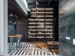 Elegant family interior with extraordinary floor accents