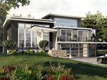 Concept de maison extérieure d'aménagement paysager à toit plat moderne par des entreprises de design extérieur 3D - Reims, France