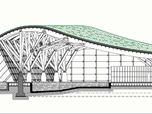 Sezione - Sistema strutturale in pilastri ad albero di legno lamellare e travi curve in legno lamellare