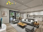 3D Rendering for Living Room Kitchen Combination