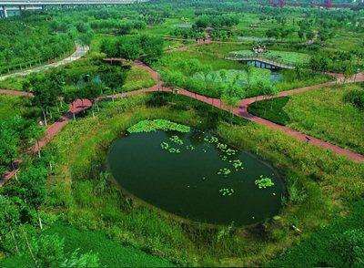 Qiaoyuan Park in Tianjin, a Chinese version of 'Parc de la Villette' in Paris