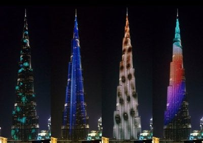 Ascension: Burji Khalifa as screen to show the journey from the centre of the earth to the universe