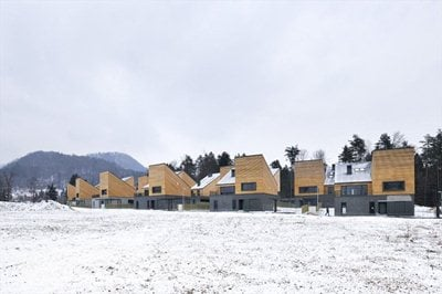 Housing Perovo: a series of sculptural wooden panels