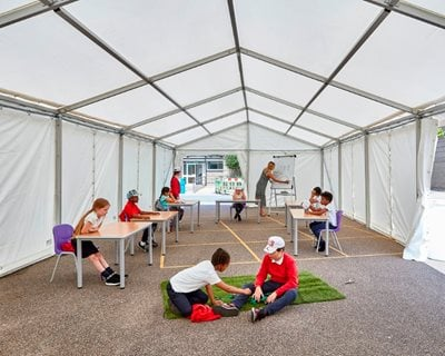 Curl la Tourelle Head builds first socially distanced school tent