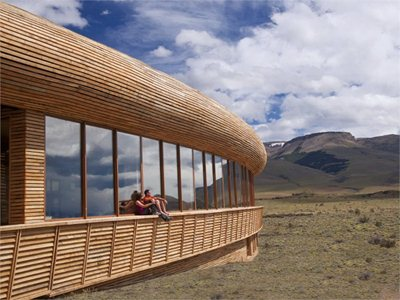 Hotel Tierra Patagonia: like a pre-historic fossil washed up on the shore of the lake