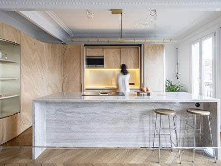 Wood Ribbon in Paris apartment TOLEDANO + ARCHITECTS